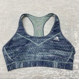 Adidas Climalite Blue Striped Sports Bra